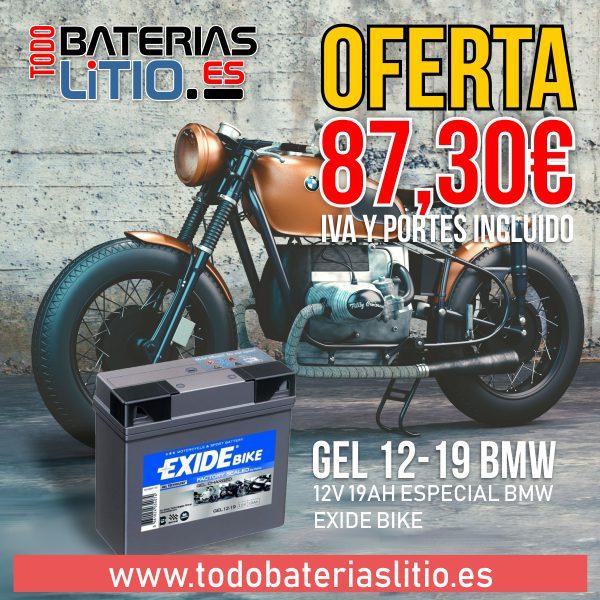 EXIDE BIKE Batería de Gel 12-19 BMW - Todo baterias litio - Batería para motocicleta bmw